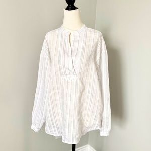 Joe Fresh Long Sleeve Striped Linen Blouse